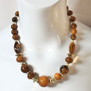 Vintage Boho Brown Gold Bead Chunky Necklace